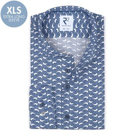 R2 Extra long sleeves. Blue flower print cotton shirt.