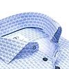 Extra long sleeves. Light blue dots print cotton shirt.