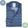 Extra long sleeves. Blue flower print 2 PLY organic cotton shirt.