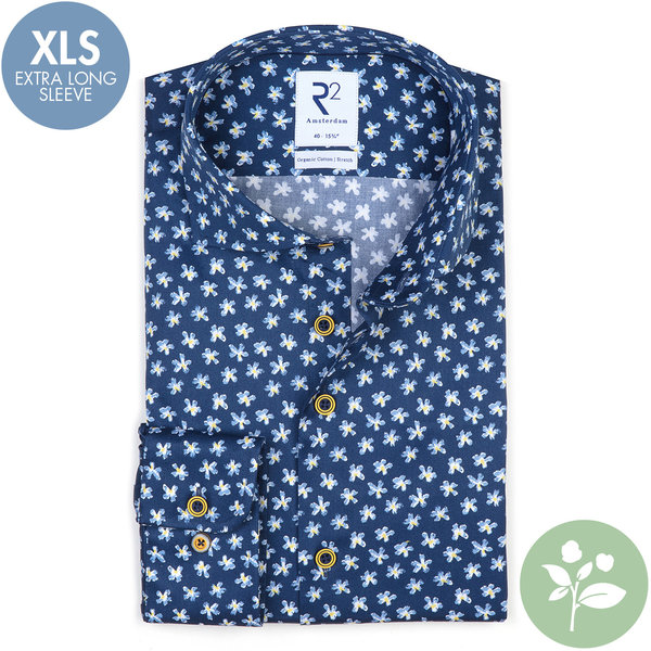 R2 Extra lange mouwen. Blauw bloemenprint 2 PLY organic cotton overhemd.