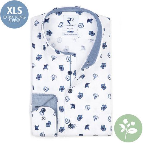 Extra long sleeves. White flower print 2 PLY organic cotton shirt.