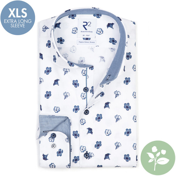 R2 Extra long sleeves. White flower print 2 PLY organic cotton shirt.