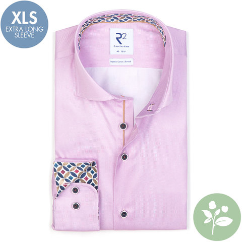 Extra long sleeves. Pink oxford 2 PLY organic cotton.