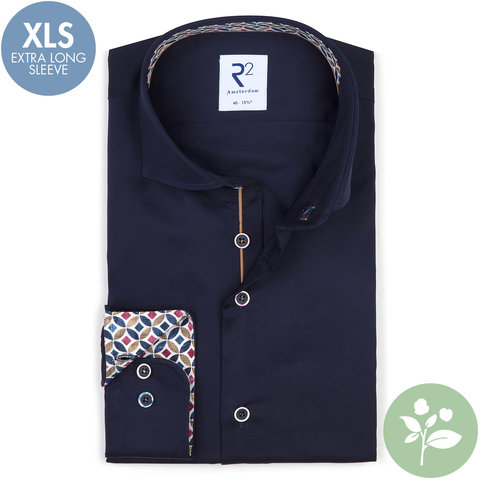 Extra lange mouwen. Navy blauw 2 PLY organic cotton overhemd.