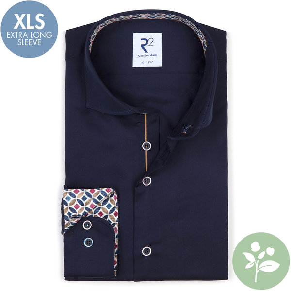 R2 Extra lange mouwen. Navy blauw 2 PLY organic cotton overhemd.