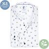 Extra long sleeves. White Phatfour print organic cotton shirt.
