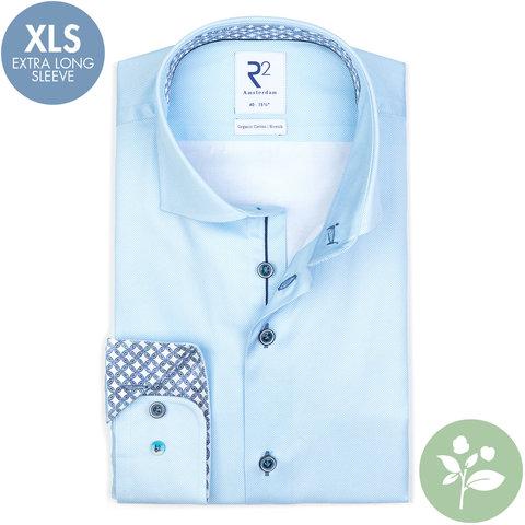 Extra lange mouwen. Licht blauw oxford 2 PLY organic cotton overhemd.
