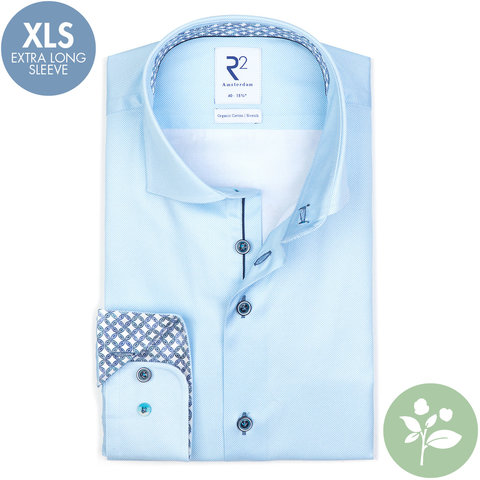 Extra long sleeves. Light blue oxford 2 PLY organic cotton shirt.