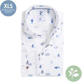 R2 Extra lange mouwen. Wit Hollandse print organic cotton overhemd.