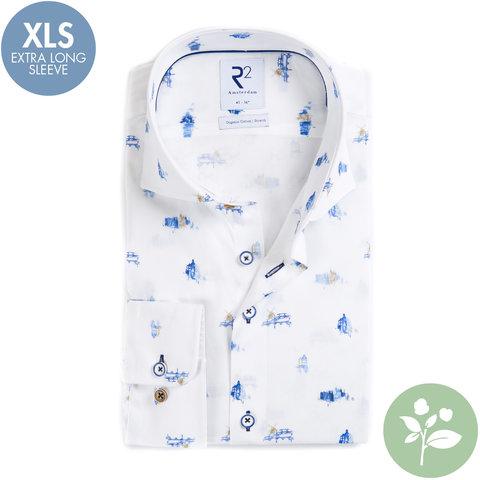 Extra lange Ärmel. Weißes holländischem Druck Organic Baumwollhemd.