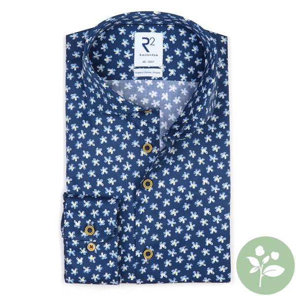 R2 Kobalt blauw bloemenprint 2 PLY Organic cotton overhemd.