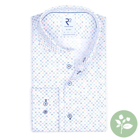 Wit mini dessin organic cotton overhemd.