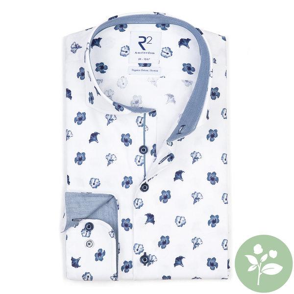 R2 Wit bloemenprint 2 PLY organic cotton overhemd.