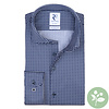 Navy blauw grafische print organic cotton overhemd.