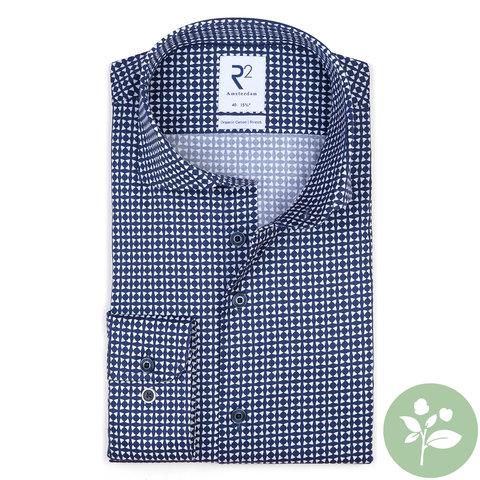 Navy blue graphic print organic cotton shirt.