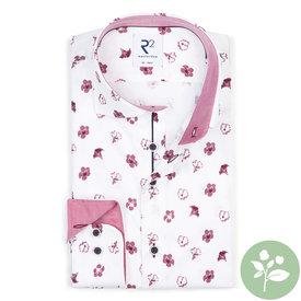 R2 Wit bloemenprint 2 PLY Organic cottonoverhemd.