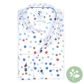 R2 White dots print organic cotton shirt.
