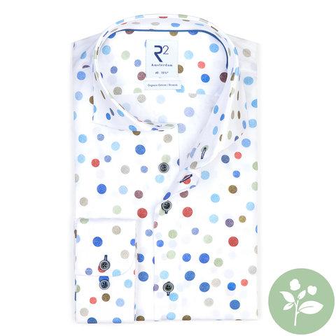 Weißes Punktdruck organic Baumwollhemd.
