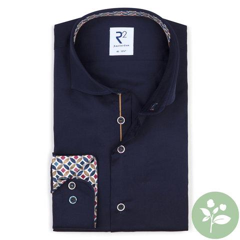 Navy blue 2 PLY organic cotton shirt.