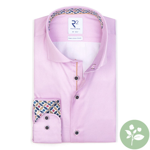 Pink oxford 2 PLY organic cotton shirt.