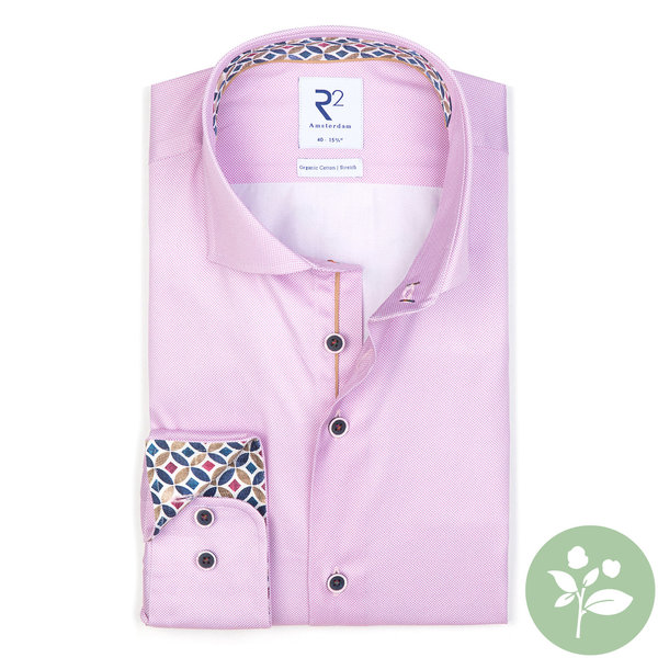 R2 Pink oxford 2 PLY organic cotton shirt.