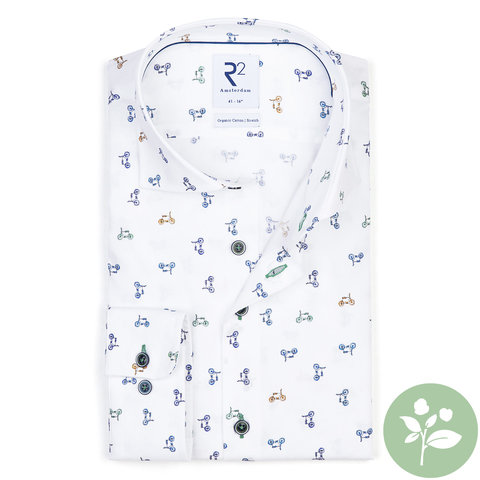 Wit Phatfour print organic cotton overhemd.