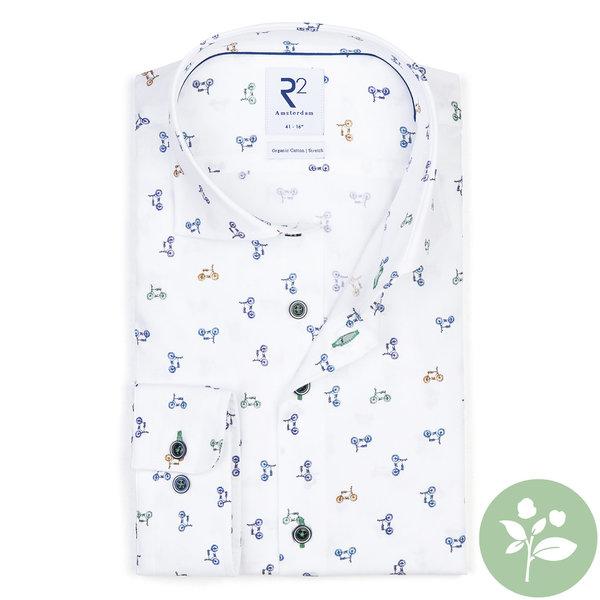 R2 Wit Phatfour print organic cotton overhemd.