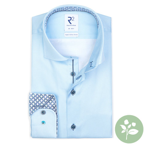 Light blue oxford 2 PLY organic cotton shirt.