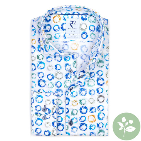 Weißes Punktdruck stretch organic Baumwollhemd.