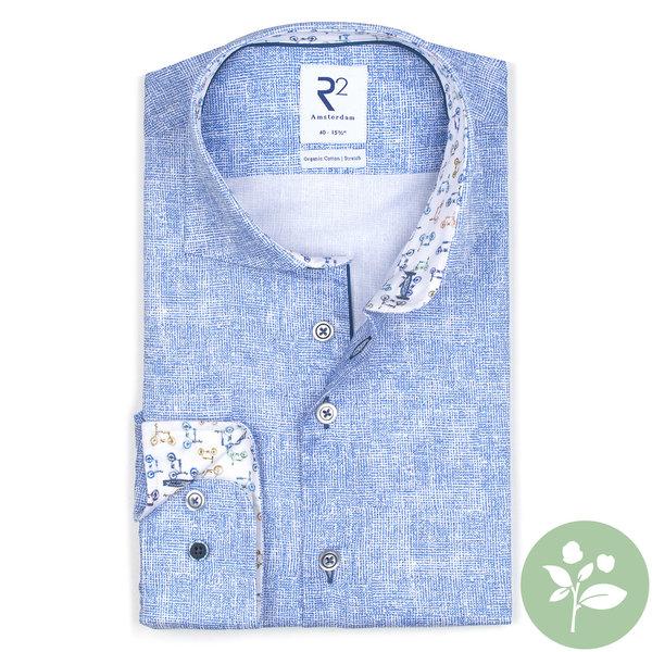 R2 Lichtblauw 2 PLY Phatfour organic cotton overhemd.
