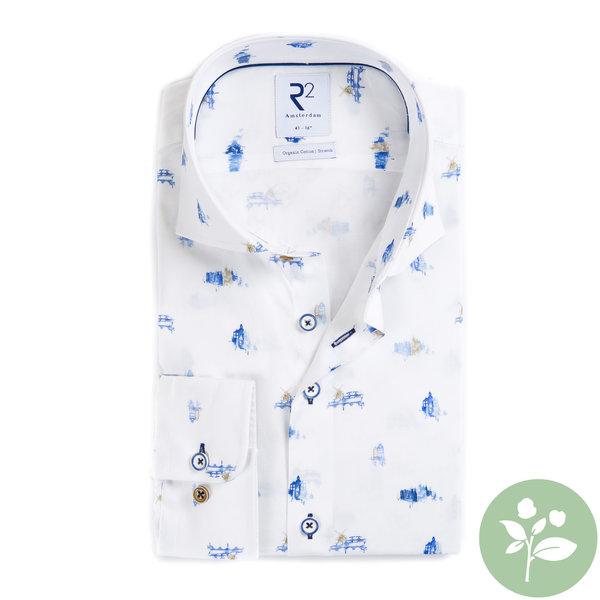R2 White Dutch print organic cotton shirt.