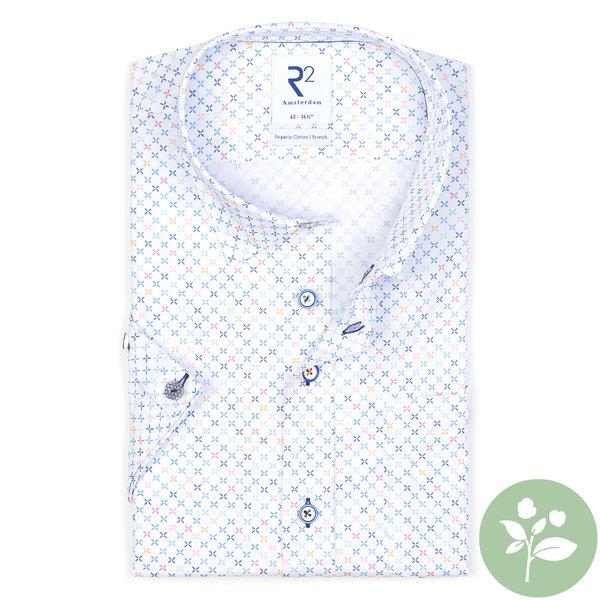 R2 Short sleeves white mini dessin organic cotton shirt.