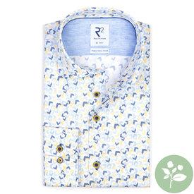 R2 Kurzärmeliges hellblaues Grafikdruck 2 PLY Organic Baumwollhemd.