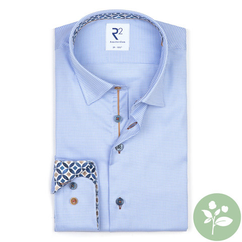 Lichtblauw pied de poule stretch 2 PLY organic cotton overhemd.