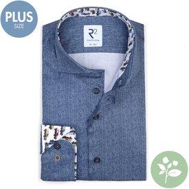 R2 Plus size. Blauw 2 PLY organic cotton overhemd.