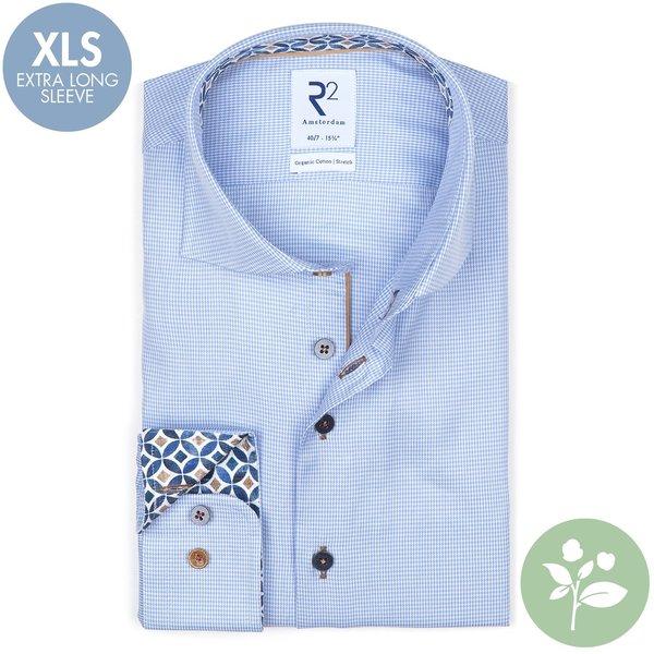 R2 Extra lange mouwen. Licht blauw pied de poule 2 PLY stretch organic cotton overhemd.