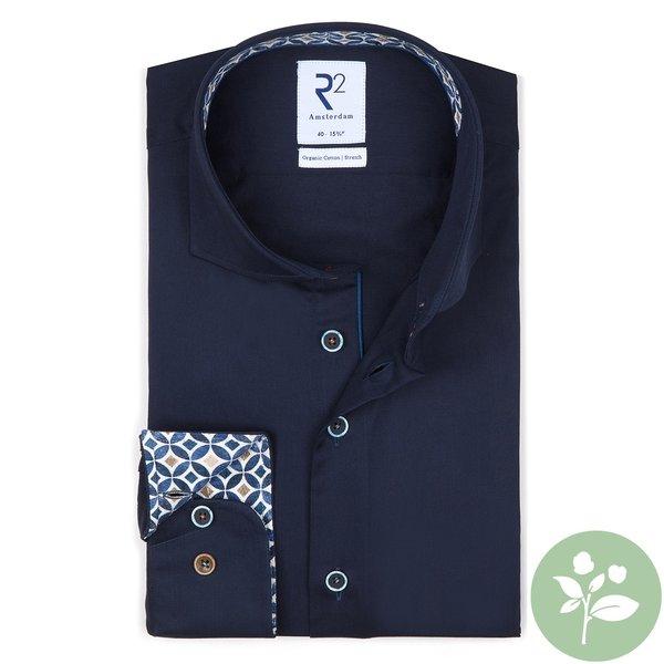 R2 Donkerblauw organic cotton overhemd.