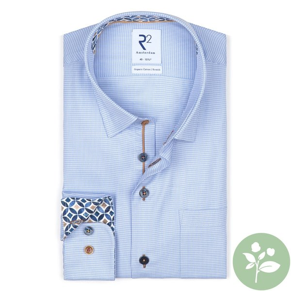 R2 Blue pied de poule organic cotton shirt.