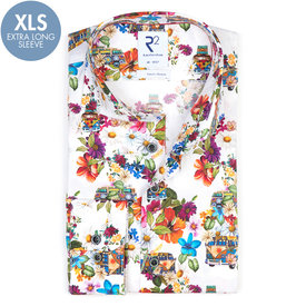 R2 Extra long sleeves. White VW bus print stretch cotton shirt.