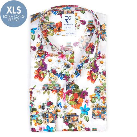Extra long sleeves. White VW bus print stretch cotton shirt.