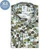 Extra long sleeves. Green Amsterdam parks print stretch cotton shirt.