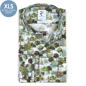 R2 Extra long sleeves. Green Amsterdam parks print stretch cotton shirt.