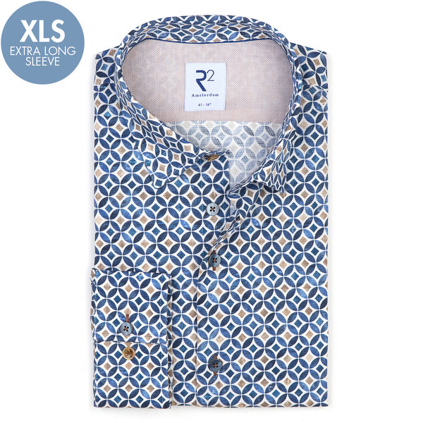 R2 Extra long sleeves. Blue graphic print dobby cotton shirt.