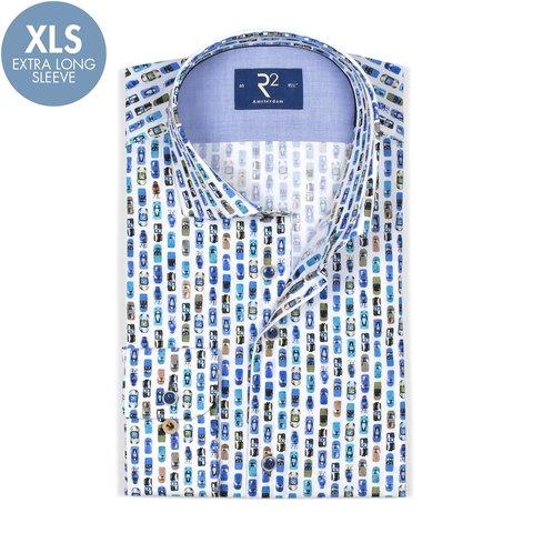 Extra Long Sleeves. White car print cotton shirt.