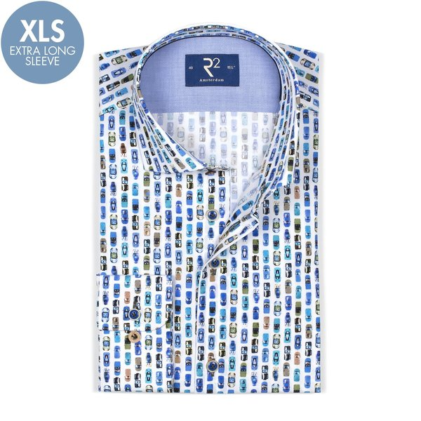 R2 Extra Long Sleeves. White car print cotton shirt.