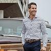 Extra Lange Mouwen. Wit Jeep print 2 PLY organic cotton overhemd.