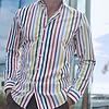 Weißes Lackstreifen Druck Baumwollhemd.