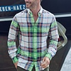 Neon checkered linen shirt.