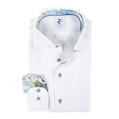 Weißes Fischgrätmuster Leinenhemd.