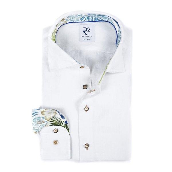 R2 Wit herringbone linnen overhemd.